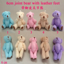 10PCS/lot Kawaii Standing 6CM Mini Joint Teddy Bear DOLL ; Plush Stuffed TOY DOLL ; Wedding Gift Decor TOY, 5 colors to choose