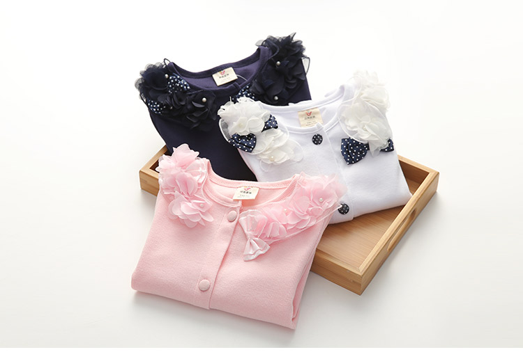 2018 Spring and Autumn Bow Decoration Baby Child Girl Lace Patchwork Pure White and Blue Long-Sleeve Cardigan Top Outerwear (14)