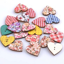 MIxed Fabrics Heart Wooden buttons For Scrapbooking Crafts 100pcs 25x24mm MT0811(China)