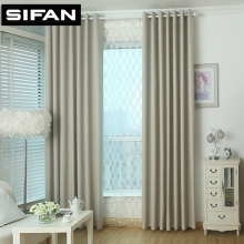 Solid Color Small Square Plain Linen Blackout curtain for Living Room Window Modern Style Curtains Custom Made(China)
