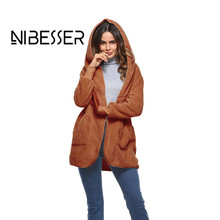 NIBESSER 2018 Fashion Popular Elegant Ladies Long Coat Female Imitation Mink Fur Coat Hooded Faux Fur Coat Women Casual Coat