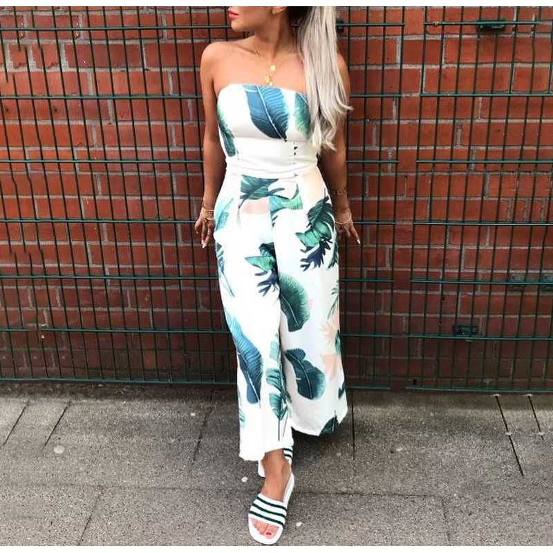 Girl Off Shoulder Navy Blue Floral Print Jumpsuit Women Summer Beach Long Rompers Sexy Backless Playsuits Overalls (Us 4-12)