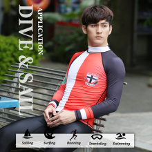 DIVE&SAIL men rash guard Surfing Diving Suits Swimwear Long Sleeve suit swim Snorkeling Suit UV T-shirt rashguard Free shipping(China)