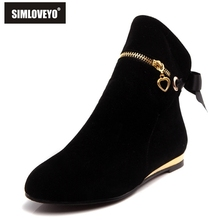 SIMLOVEYO style cute five colors 43 large size autumn winter boots suede bow shoes for women short round toe solid ankle boots