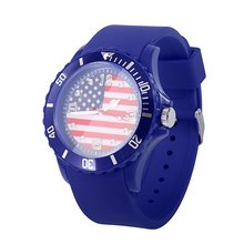2018 Football World Cup USA Flag Pattern Soft Silicone Strap Quartz Wristwatch Unisex Fashion Watches 13 Styles for Choose(China)