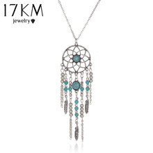 17KM Indian Style Hot New Dream Catcher Necklace Tube Collar Blue Stone Tassel Beads Necklace Bijoux Necklace for Women(China)