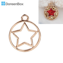 Doreen Box Handmake Zinc Based Alloy Open Back Bezel Gold Color Circle Pentagram Pendants For DIY Resin Drop 28x23mm, 1 Piece
