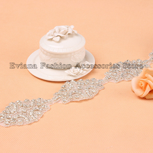 1 yard wholesale Factory price Fashion Clear Rhinestone Applique Trim for wedding dress gowns headwear Shoes motif rhinestone