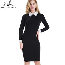Nice-forever Career Women Autumn Turn-down Collar Fit Work Dress Vintage Elegant Business office Pencil bodycon Midi Dress 751(China)