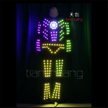 TC-167 Colorful LED robot costumes party disco wears ballroom led programming design lighting costumes men clothes dj dance show(China)