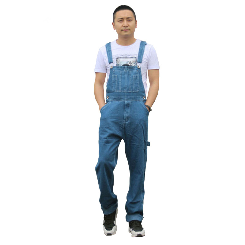 Men's Fashion Pocket Denim Overalls Men Jeans For Boys Male Casual Loose Jumpsuits Plus Large Size Jeans Brand Pants High Qualit