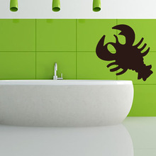 Simple Design Crab Outline Bathroom Decorative Cancer Wall Sticker Kitchen Waterproof Removable Vinyl Decals(China)