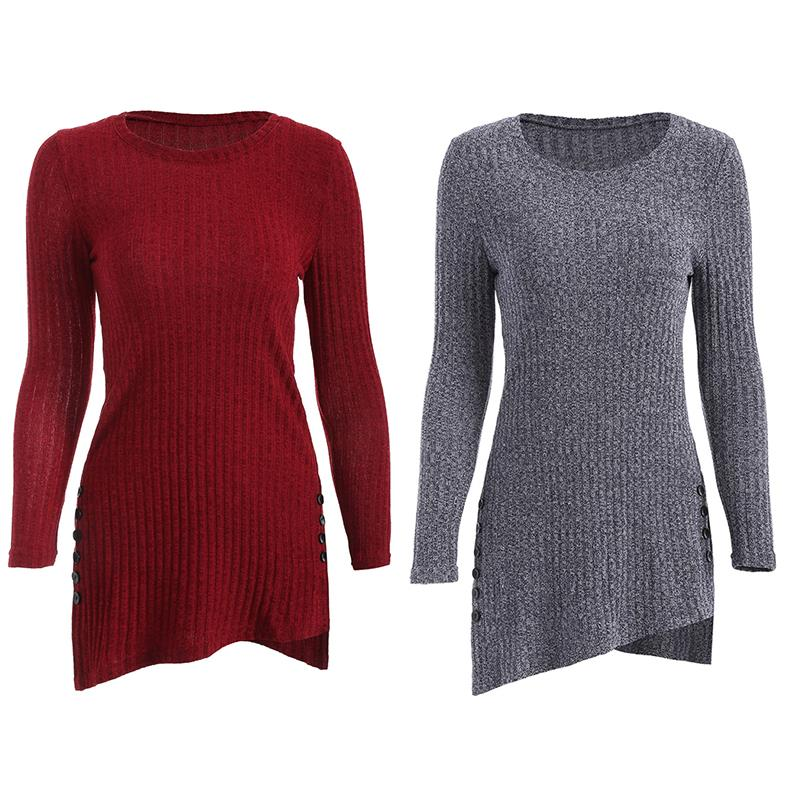 Women's Winter O-Neck Long Sleeve, Side Button, Irregular Hem, Solid Long Sweater 11