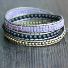 Triple Champagne Leather Beaded Bracelet,Purple,Copper,Black Simple Beaded Bracelet Friendship Bracelets Jewelry