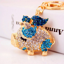 Dalaful 2017 New Brand Pig Wings Crystal Rhinestone Keyrings Key Chains Holder Women Gift Bag Pendant For Car Keychains K250