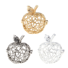 2017 Classic three colors Apple shape Pendant Carved With Hollow Love Heart 3D Hollow Charm For DIY necklace Jewelry