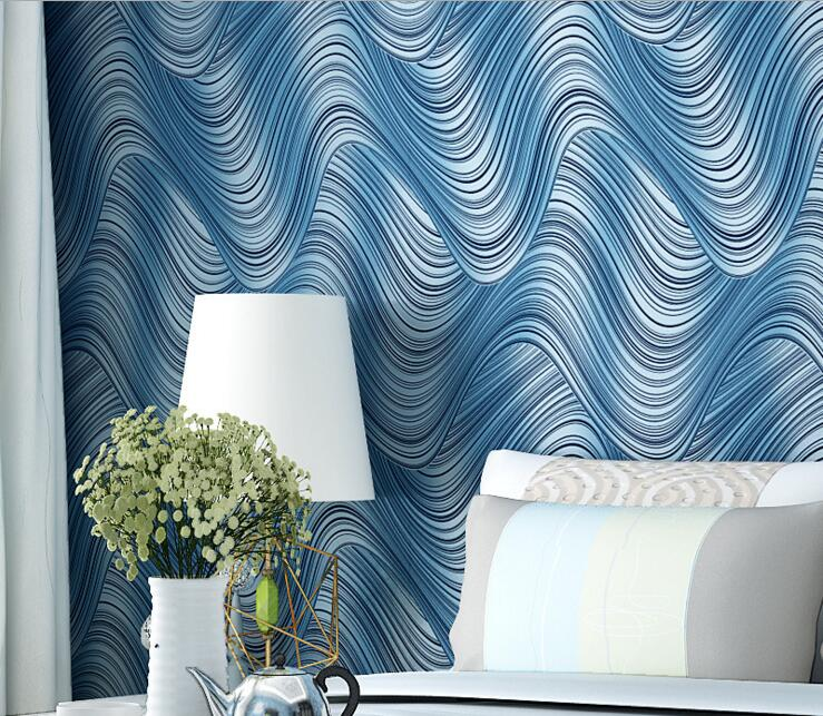 modern living room abstract blue wave stripe wallpaper<br>
