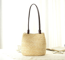 2016 new fashion beaded shoulder bag woven braid ladies bag beach buckets