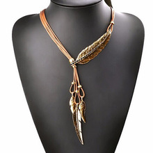 New Bohemian Style Black Rope Chain Leaf Feather Pattern Pendant Necklace For Women Fine Jewelry Collares Statement Necklace(China)