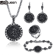 2017 NEW Black Broken Stone Wedding Jewelry Sets Necklace Earrings Ring Bracelet For Women Unique Boho Silver Plated(China)