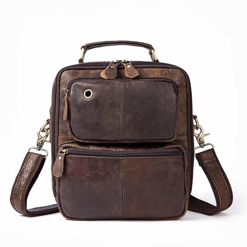 New Wax Leather Series Messenger Bag For Men Bag Genuine Leather Shoulder Bags Crazy horse skin Cross Body Bags Vintage Satchel<br>