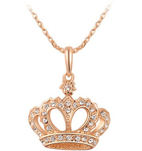 JS N281 New Arrival Luxury Queen Crown Necklace Gold And Silver Color Pendant Necklace Nickel Free Elegant Women Jewelry