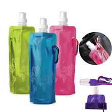 Good quality 480ml Portable Foldable Water Bottle Ice Bag Running Outdoor Sport Camping Hiking Random Color(China)