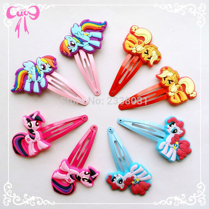 80Pcs Children Pig Hair Accessories My little Ponys Hair Clip Cartoon Kids Hairpins Cute Hair Ornaments Flower Crown<br><br>Aliexpress