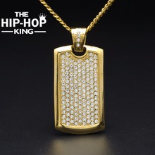 9 Row Ice Out Cz Diamonds Metal Dog Tag Necklace For Men Hip Hop Stainless Steel Gold Square Tag Charm Pendant Necklace(China)