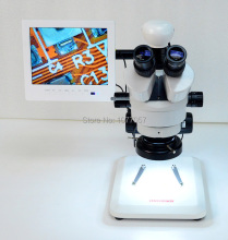 Best Sale,35X-225X HD Industry LCD AV Zoom video Microscope  + Stand +AV camera + LED ringlight + 8 '' LCD screen( white)