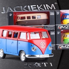 High Simulation Exquisite Model Toys RMZ City Car Styling Volkswagen Van Retro Print Little Bus Alloy Bus Model Excellent Gifts(China)