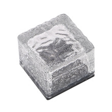 Solar Ice Cube Rock LED Frosted Glass Brick Paver Garden Lamp Buried Light Ingroud for Garden Path Road Square Yard Lamp