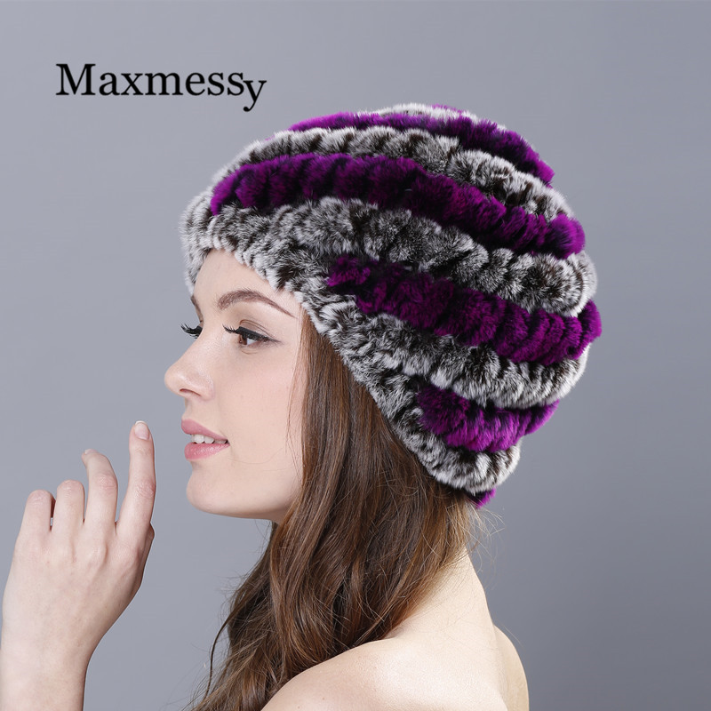 MAXMESSY Womens Winter Hats Lined Natural Real  Rabbit Fur Cap New Fur Knitted Caps For Women Pineapple  Hat Female Winter Îäåæäà è àêñåññóàðû<br><br><br>Aliexpress