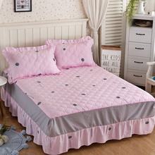 100% Cotton korean pink girls adults skirt pillow cases 3pcs bed linen set of double full twin size bed dandelion bed skirt
