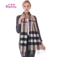 Biqiling Winter Plaid Cashmere Scarf Women Oversized Blanket Scarf Wrap Long Wool Scarf Women Pashmina Shawls  Scarves