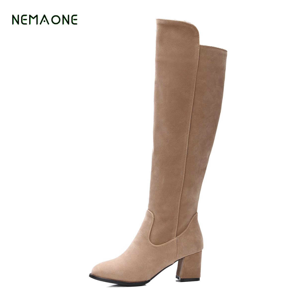 NEMAONE women boots Faux Suede Sexy thigh high boots Women over the knee boots Ladies Autumn Spring High heels boots<br>
