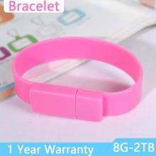 High Quality Pink USB Flash Drive 1TB 2TB Bracelet 64GB 16GB 8GB 32GB Memory Stick Disk On Key Pendrive Wrist Band USB 2.0 Stick