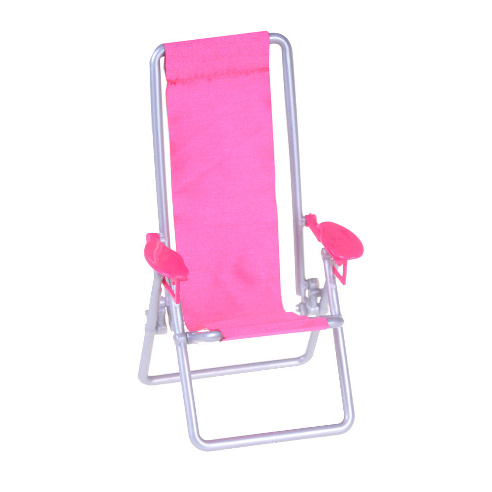 HOT Pink 1:12 Dollhouse Furniture Foldable Deckchair Dolls House Accessories
