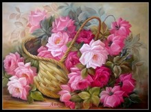 Counted Cross Stitch Patterns - Ankicoleman High Quality Charts - Needlework for Embroidery DIY DMC - Basket of Pink Roses