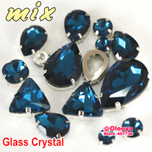 30pcs Mix Sizes Shapes Peacock blue Color Sew On Rhinestone Glass Crystal Stone Sewing Accessories For Clothing Decoration Y3502