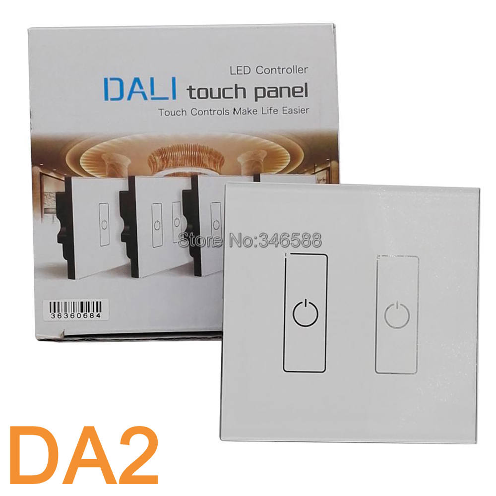 LTECH DA2 Wall Mount Touch Panel 2CH 2 Channel Control On/Off Switch Dimmer LED Controller DALI Series for LED Light AC220V<br>