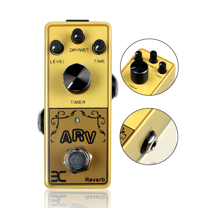 EX ARV Wooden Guitar Part Mini Guitar Pedal Original Sound Reverb Single Effect Wooden Guitar Original Sound Pedal Effect<br>