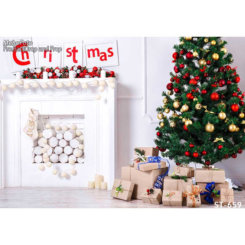 Horizontal vinyl print Xmas decoration white wall room photography backdrops for photo studio portrait backgrounds ST-659<br>