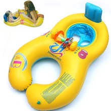 Inflatable baby swimming neck ring mother and child swimming circle double swimming rings float seat  piscine