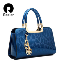 REALER brand high quality women patent leather handbags medium tote bag black brand designer handbags ladies gold clutch bags