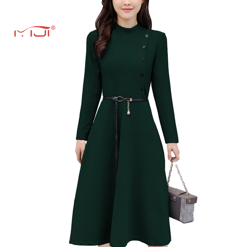 Knitted Dress Solid Color Commuter Dress 4 colors Vintage Dresses Plus Size 2018 Hot Sale Dress Women Elegant Belt Robe Femme Îäåæäà è àêñåññóàðû<br><br>