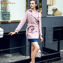 Qunitina Fashion Suede Windbreaker Female Autumn Sashes Ruffles Women Style Belt Double Breasted Waist Pink Short Trench Coats(China)
