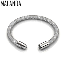 MALANDA Brand New Fashion Crystal From Swarovski Mesh Bracelets Bangles For Women Luxury Wedding Party Jewelry Christmas Gift(China)