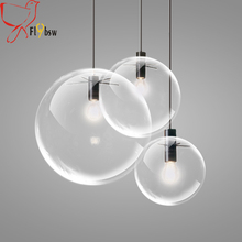 Modern brief Glass Ball pendant Lamp,dia 15/20/25/30cm clear glass Hanging Lamp Suspension for Dining Room Bar Restaurant lamp