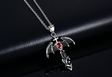 Punk Titanium Steel Red Zircon Devil Bats Cross Necklace Mens Individuality Jewelry best christmas gifts N0462